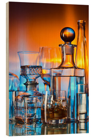 Stampa su legno  alcoholic drinks on glass table