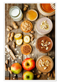 Poster Premium  peanut butter smoothie with chocolate, apples, banana and oats