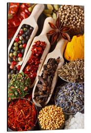 Stampa su alluminio  Colorful aromatic spices and herbs