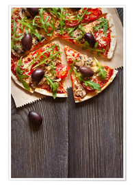 Poster Premium  Pizza with mushrooms and arugula