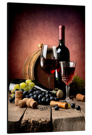 Alluminio Dibond  Red wine with grapes and corks