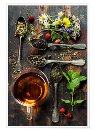 Tea with honey, wild berries and flowers