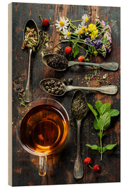 Stampa su legno  Tea with honey, wild berries and flowers
