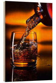 Stampa su legno  whiskey and ice on a glass table