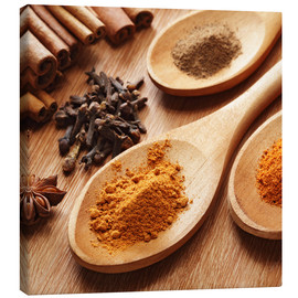 Stampa su tela  Herbs and spices on wood