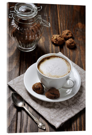 Stampa su vetro acrilico  Cup of coffee with cookies