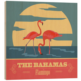 Stampa su legno  The Bahamas - Flamingo