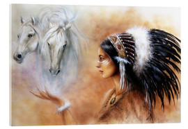Stampa su vetro acrilico  American Indian with horses