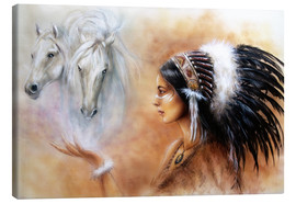 Stampa su tela  American Indian with horses