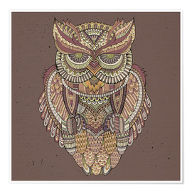 Poster  Owl - colours of the forest