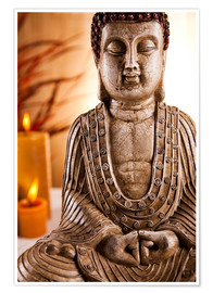 Poster Premium Buddha statue with candles