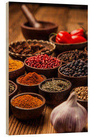 Stampa su legno  colorful spices in bowls