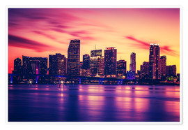 Poster  Miami at sunset, USA