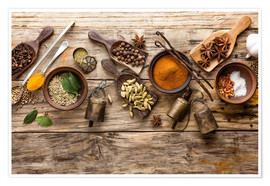 Poster Premium  Spices and kitchen utensils
