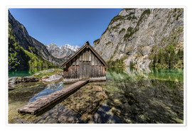 Poster Premium Boathouse at the lake, Bavaria
