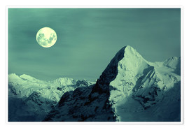 Poster Premium  Full Moon on the Eiger - Gerhard Albicker