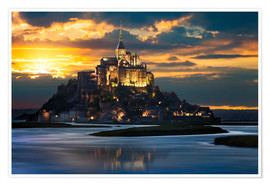 Poster Premium  Mont Saint-Michel at sunset