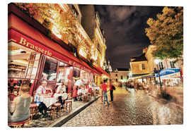Stampa su tela  Montmartre streets at night