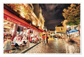 Poster Premium  Montmartre streets at night