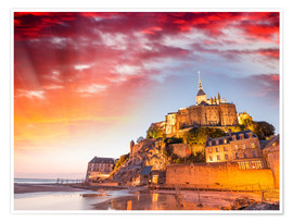 Poster Premium  Stunning sunset over Mont Saint Michel
