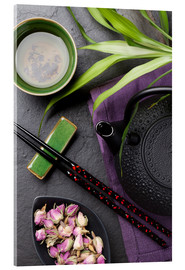 Stampa su vetro acrilico  Asian sushi chopsticks, tea and teapot