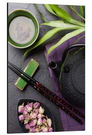 Stampa su alluminio  Asian sushi chopsticks, tea and teapot