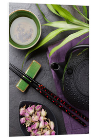 Stampa su schiuma dura  Asian sushi chopsticks, tea and teapot