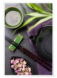 Poster Premium  Asian sushi chopsticks, tea and teapot
