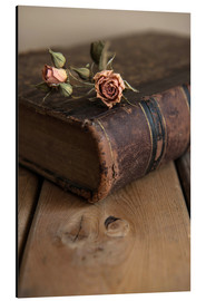 Stampa su alluminio  Dry rose and old book - Jaroslaw Blaminsky