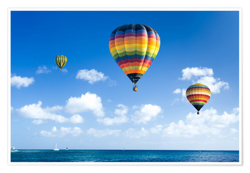 Poster Premium Colorful hot air balloons on the blue sea