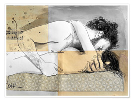 Poster Premium  lovers on a patterned mattress - Loui Jover
