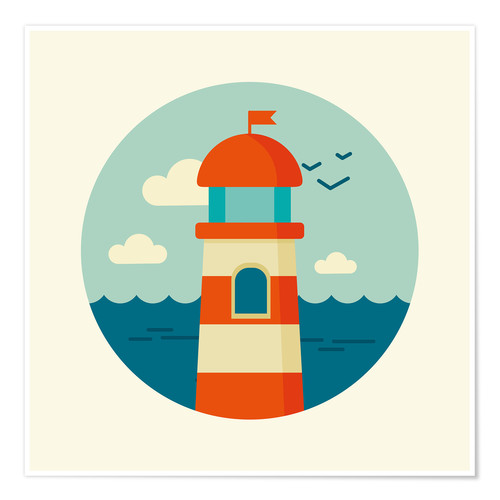 Poster Lighthouse in a circle