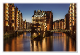 Poster  Water Castle - Warehouse District - Hamburg - Germany - Achim Thomae