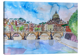 Stampa su tela  Vatican Rome Italy Sunset On River Tiber With St Peter II - M. Bleichner