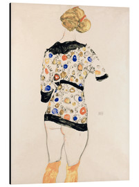 Stampa su alluminio  Standing Woman in a Patterned Blouse - Egon Schiele