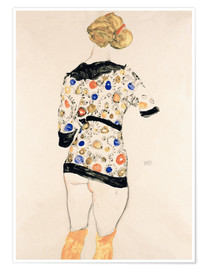 Poster Standing Woman in a Patterned Blouse