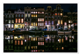 Poster  Amsterdam   Keizersgracht in a mirror - Sabine Wagner