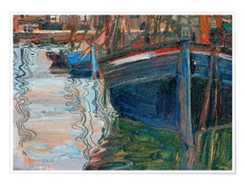 Poster Premium  Boats reflected in the water - Egon Schiele