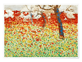 Poster Premium Flower meadow with trees