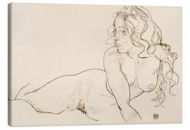 Tela  Resting himself Female act with long hair - Egon Schiele