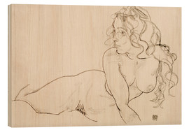 Legno  Resting himself Female act with long hair - Egon Schiele