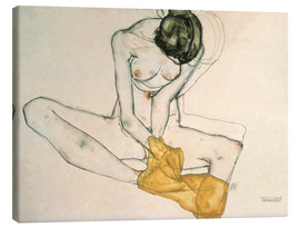 Stampa su tela  Seated with yellow cloth - Egon Schiele