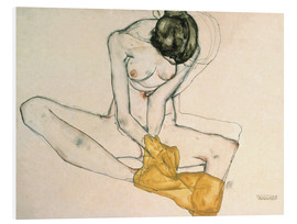 Forex  Seated with yellow cloth - Egon Schiele