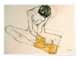 Poster  Seated with yellow cloth - Egon Schiele
