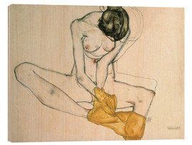 Legno  Seated with yellow cloth - Egon Schiele