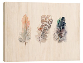 Stampa su legno  3 feathers - Verbrugge Watercolor