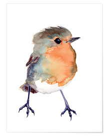 Poster  Baby Robin Watercolour - Verbrugge Watercolor
