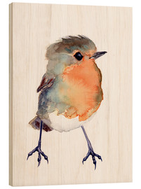Stampa su legno  Baby Robin Watercolour - Verbrugge Watercolor