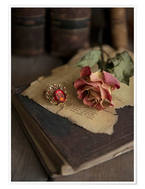 Poster Premium Old books, ring, letters and dry rose