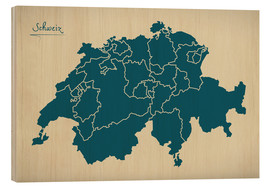 Stampa su legno  Switzerland Modern Map Artwork Design - Ingo Menhard